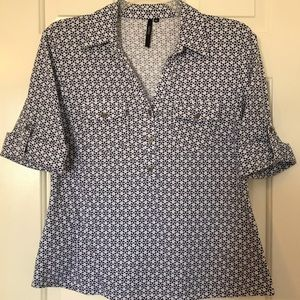🌹Cathy Navy Blue Blouse